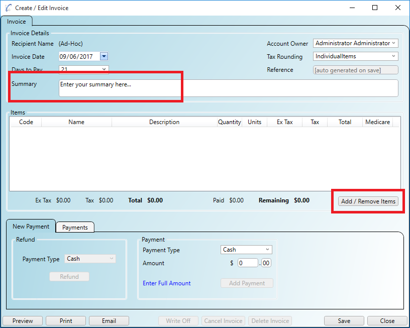 how to create invoices and bill patients and contacts