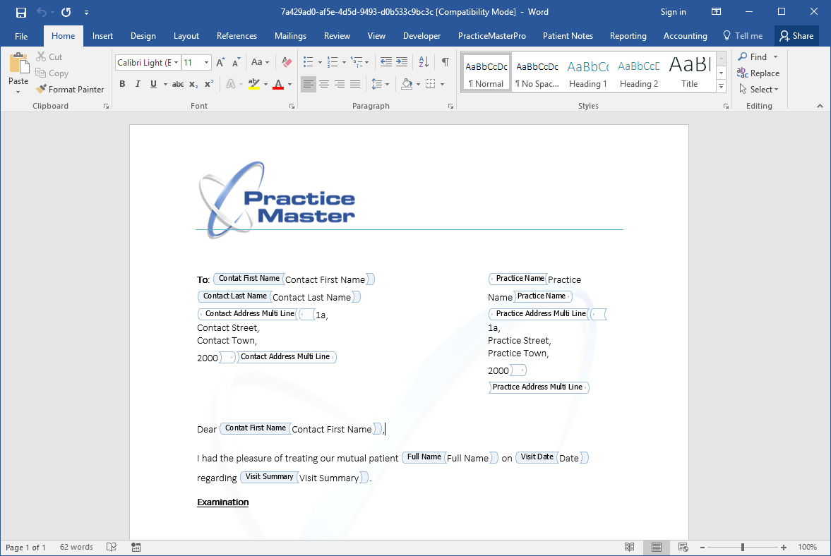 Practice Master Pro Automatic Patientmedical Document Generation